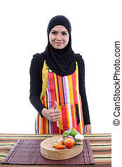 Young Muslim Women with a fresh vegetables concept