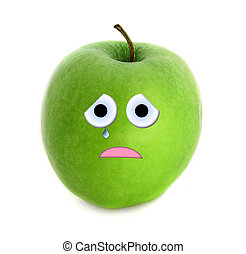 Crying apple isolated over white background