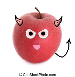 Evil apple over white background