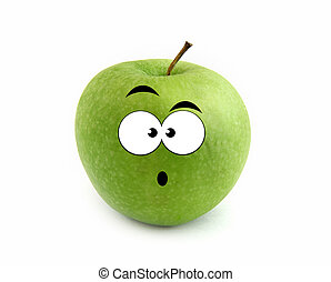 Surprised apple isolated over white background