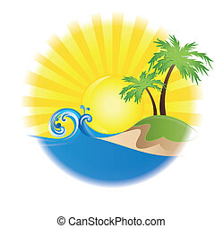 tropical - summer vector logo on white background isolated