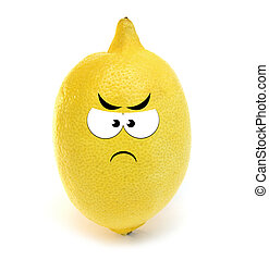 Angry lemon isolated over white background