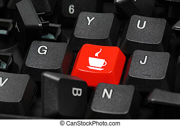 coffe or tea time icon on red and black keyboard button