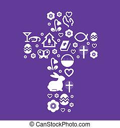 púrpura, estilizado, Pascua, cruz, aislado