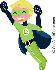 Green super hero boy isolated on white - Cute little...