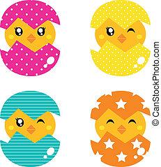 retro, Feliz, galinha, ovo, concha, isolado, branca