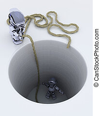 robot stuck in a hole metaphor - 3D render of a robot stuck...