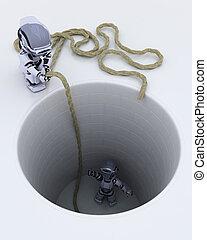 robot stuck in a hole metaphor - 3D render of a robot stuck...