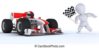 Man in Race car winning at checkered flag - 3D render of a...