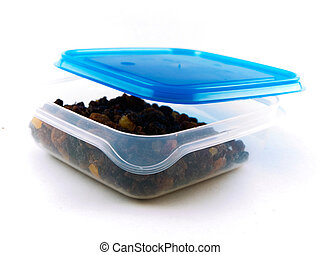 Raisins, Sultanas and Dried Fruit in Tupperware Container