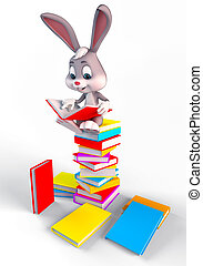 Bunny sitting On large books Stack