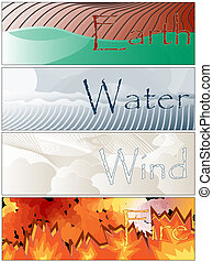Four Elements Fire Earth Wind Water Banners - Collection Set...