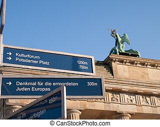 Direction Sign by Brandenburg Gate