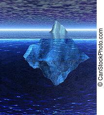 Iceberg in the Open Ocean with Horizon