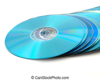 CDs DVDs Disks on White Background - Blue Data CDs DVDs...