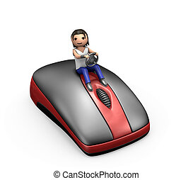3d Young Guy Driving a Computer Mouse - 3d Man Driving a PC...