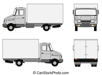Grey lorry - Illustration of a small delivery truck