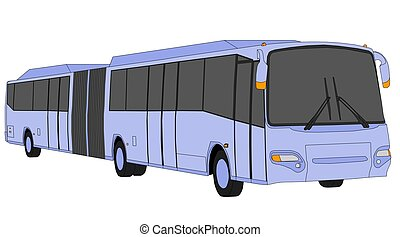 Articulated bus - Illustration of a light violet articulated...