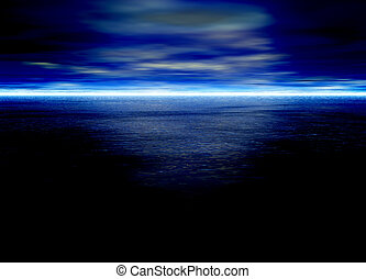 Blue Seascape Horizon With Clouds
