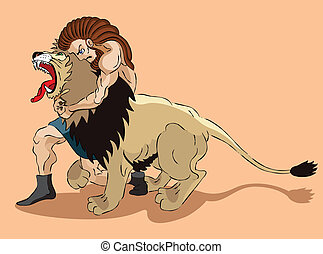 Samson and lion - Samson the judge of Israel struggles with...