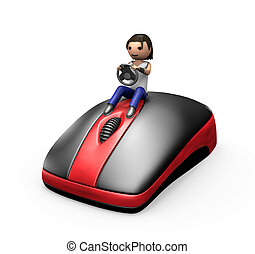 3d Guy Driving a PC Mouse - 3d Young Male Driving a PC Mouse...