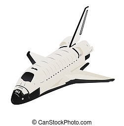 Space Shuttle Illustration in Flight on White - Space...