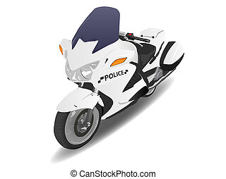 Police Motorcycle Motor Bike Illustration on White