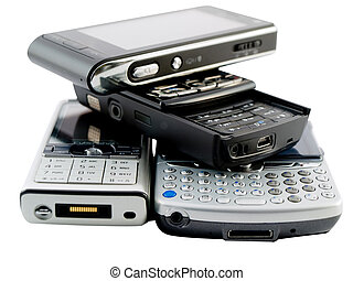 Stack of Several Modern Mobile Phones on White