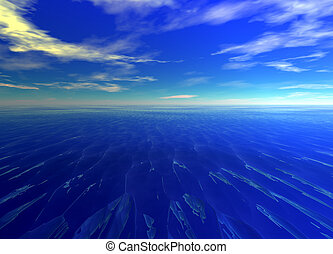 Distant Seascape Blue Water Ocean Horizon Glowing