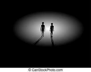Two Alien Silhouettes Walking From Light - Two...