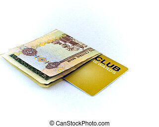 Five Dirham Note and Gold Membership Club Card on White...