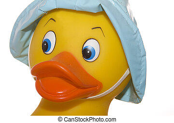 Rubber Duck Face Close-up - Close-up of rubber duck's face -...