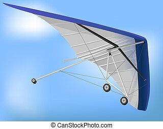 Hanglider Paragliding Wing Flying over Blue Sky Illustration