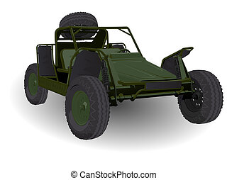Army Dune Buggy Go-cart Vehicle on White