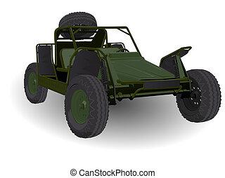 Army Dune Buggy Go-cart Vehicle on White