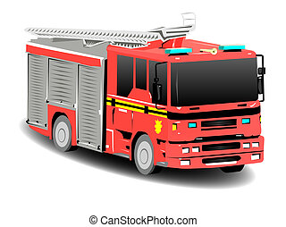Red Emergency Services Firetruck Fire Engine - Red Emergency...