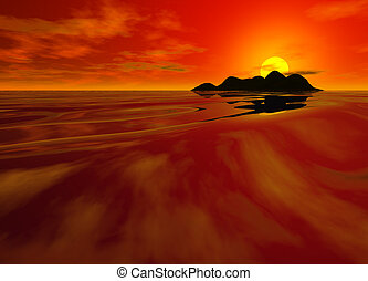 Bright Red Sunset Seascape