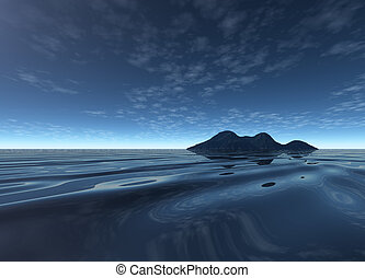Dark Night Landscape with Distant Island