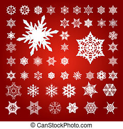 Collection of 50 Fifty Snowflakes on Red - Collection of 50...