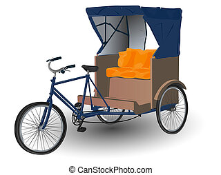 Asian Rickshaw Pulled by Bicycle Illustration on White