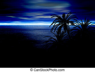 Blue Seascape Horizon With Palm Tree Silhouette