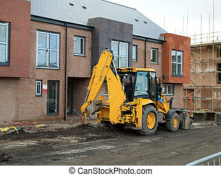 JCB Digger at Construction Site New Build Houses