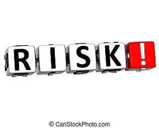 3D Risk Block Text  on white background