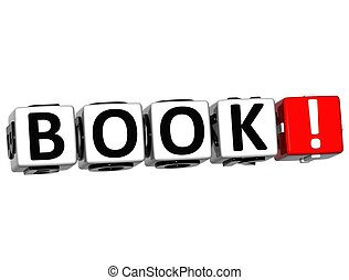 3D Book Block Text  on white