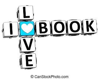 3D I Love Book Crossword Block text