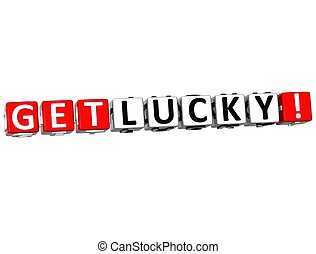 3D Get Lucky Block Text  on white