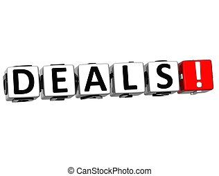 3D Deals Block Text  on white background