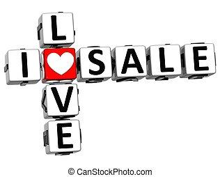 3D I Love Sale Crossword Block text