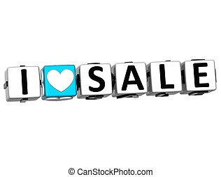 3D I Love Sale Crossword Block text on white background