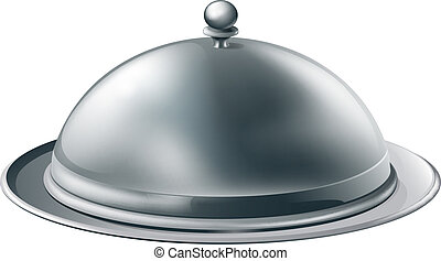 Silver platter illustration - A fine dining silver cloche...